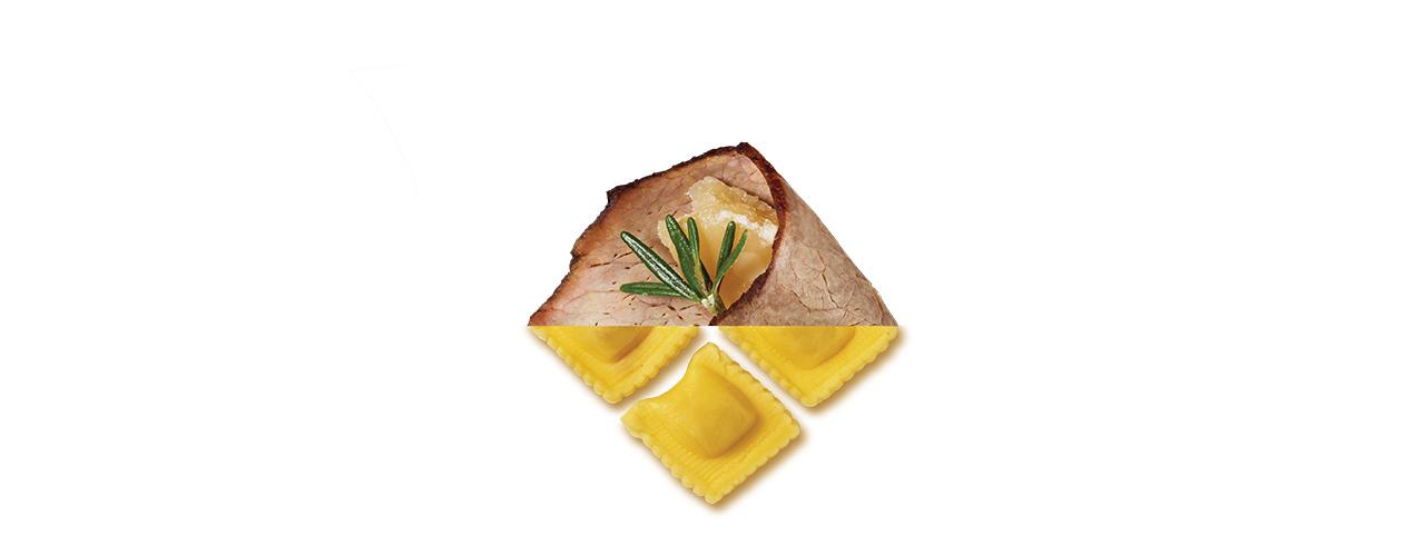 Frischpasta gefüllt   Quadrucci al brasato